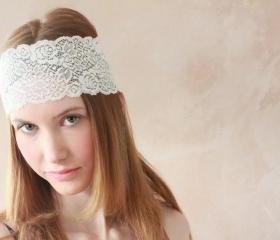 Lace Headband, Boho Headband, Hippie Headband, Stretchy Lace, Elasticated Headband, Fabric Headband - Cream Lace