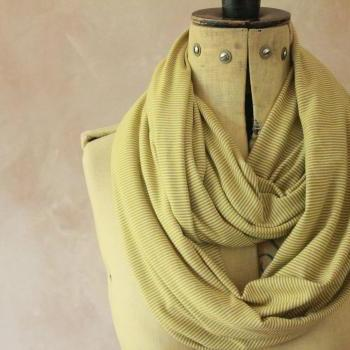 Infinity scarf - Snood, Eternity scarf, Circle scarf, Jersey scarf, Tube scarf, Loop scarf, Snood, T-Shirt scarf - Green Stripes